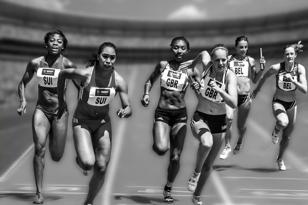women, running, race